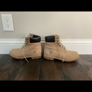Women's tan and dark brown Timberland boots